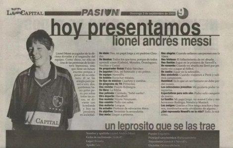 Primera entrevista Lionel Messi