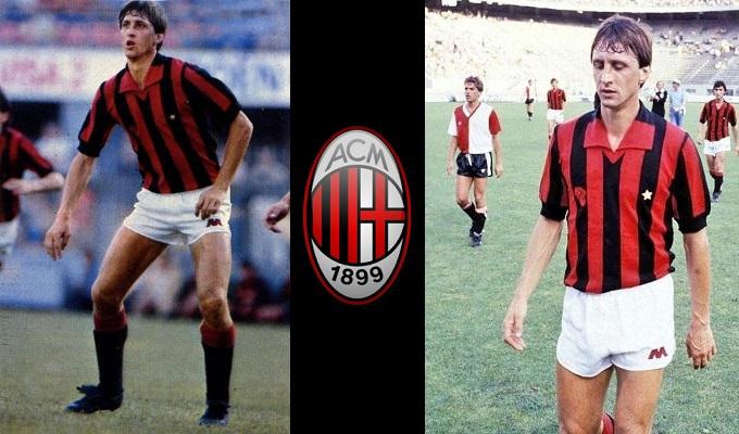 Johan Cruyff vestint la samarreta de l'AC Milan