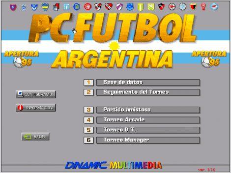 Pantalla principal PC Futbol Argentina Apertura 95