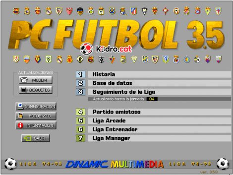 Pantalla principal del PC Fútbol 3.5 de Dinamic Multimedia